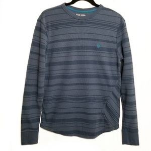 VOLCOM waffle knit thermal blue stripes size S